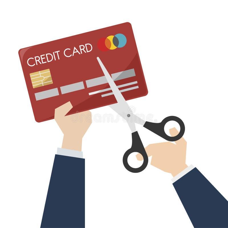Illustrazione delle forbici che tagliano una carta di credito illustrazione vettoriale
