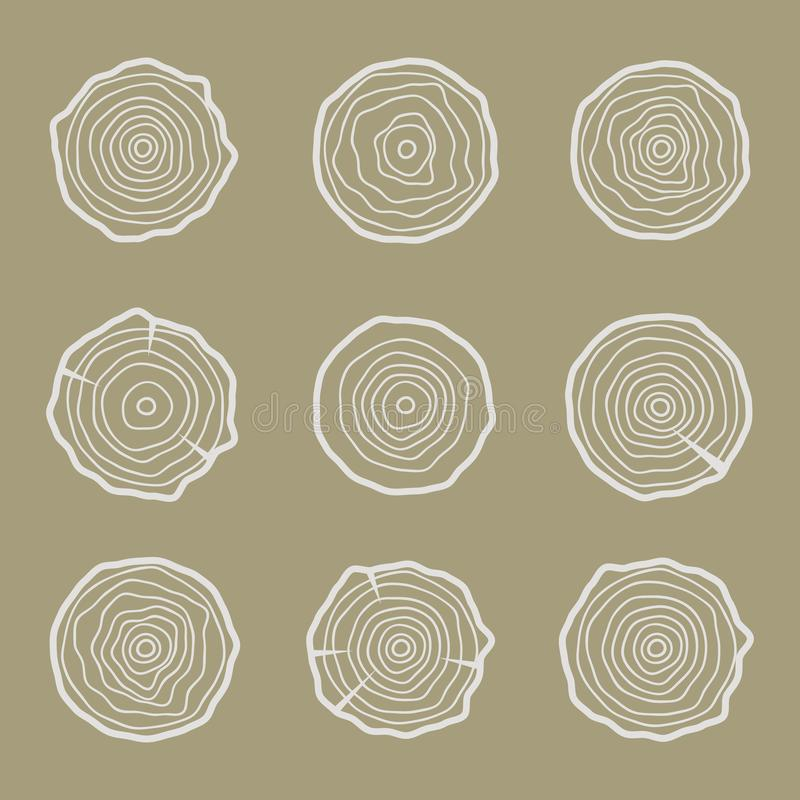 Illustrazione delle icone degli anelli di albero Annuale astratto di età Circl royalty illustrazione gratis