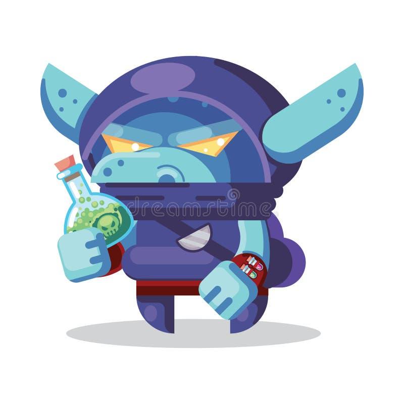 Illustrazione delle icone dei mostri e di eroi del carattere del gioco di RPG di fantasia canaglia diabolica del folletto, ninja, royalty illustrazione gratis