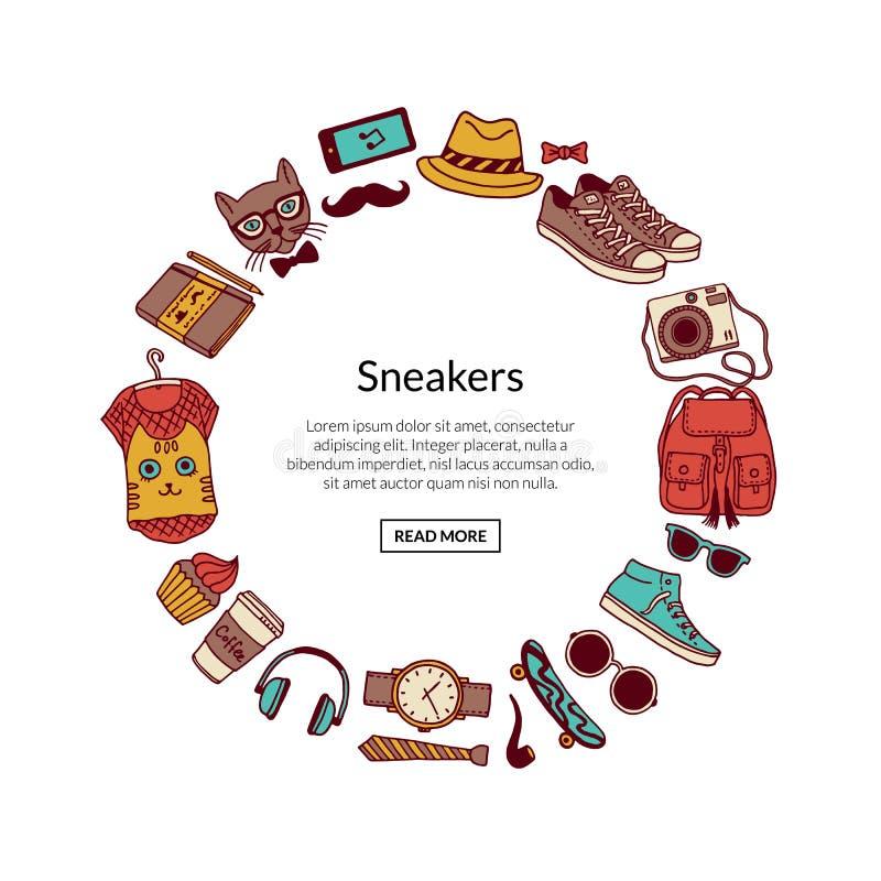 Illustrazione delle icone di scarabocchio dei pantaloni a vita bassa di vettore royalty illustrazione gratis