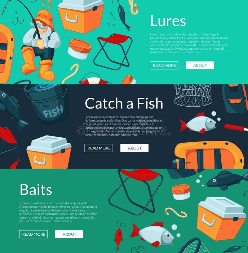 Illustrazione delle insegne di vettore con pesca del fumetto illustrazione di stock