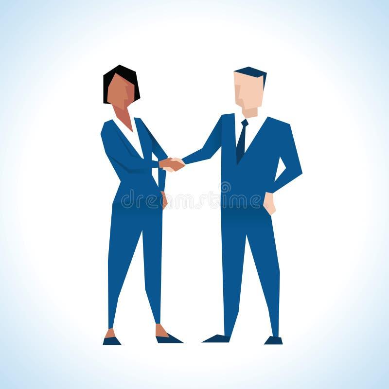 Illustrazione delle mani di And Businesswoman Shaking dell'uomo d'affari royalty illustrazione gratis