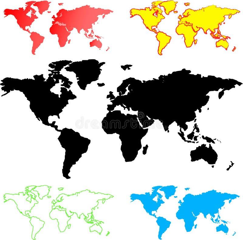 Illustrazione delle mappe di mondo illustrazione vettoriale