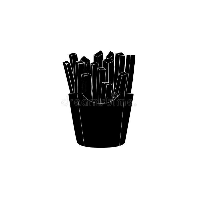 Illustrazione delle patate fritte Isolato su bianco Alimenti a rapida preparazione Vettore illustrazione di stock