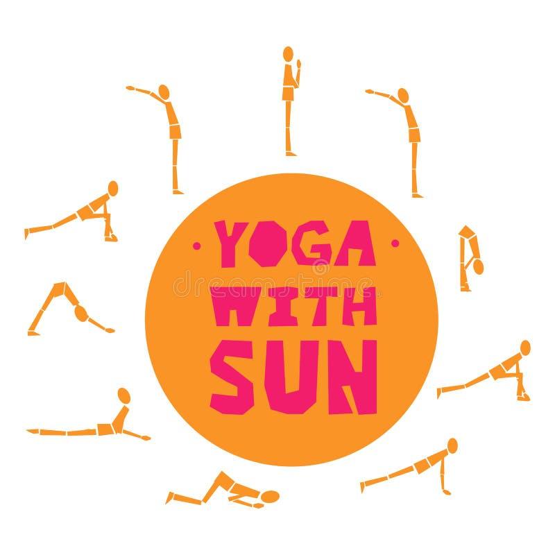 Illustrazione delle pose di yoga - esponga al sole il saluto Insieme di esercizi di yoga per i manifesti, stampe, insegne, alette illustrazione di stock