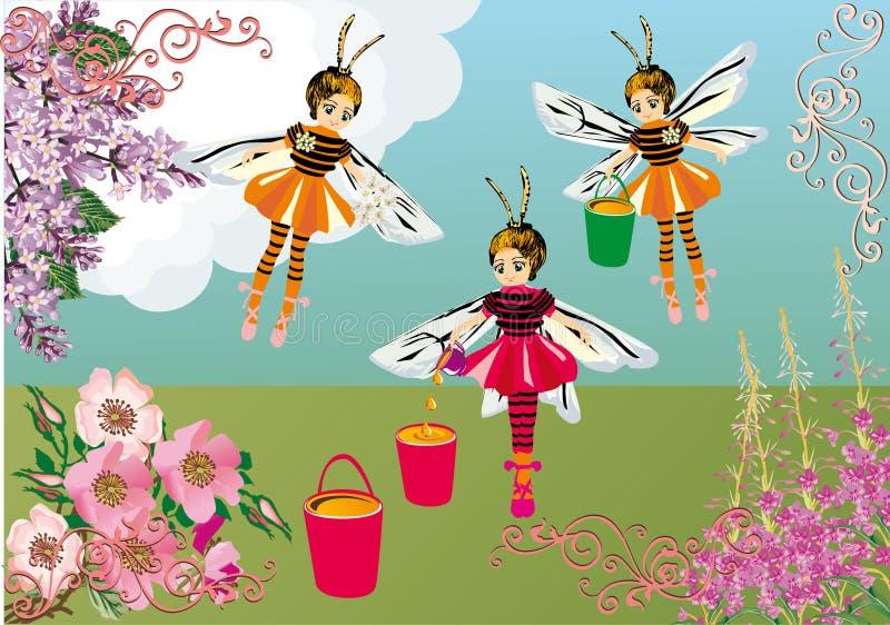 Illustrazione delle ragazze e dei fiori dell'ape illustrazione di stock