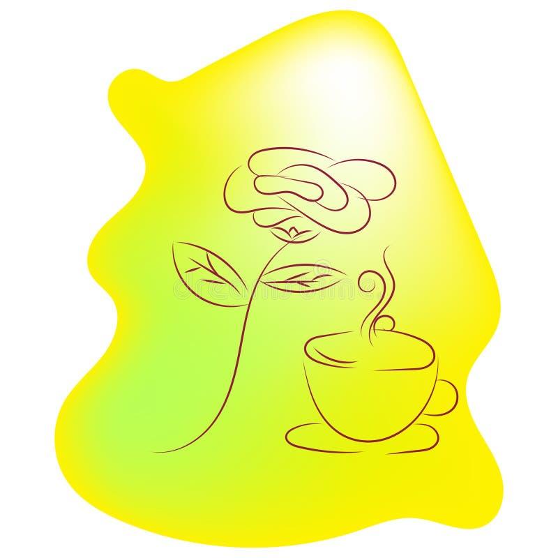 Illustrazione delle rose e di una tazza di tè Vettore illustrazione di stock