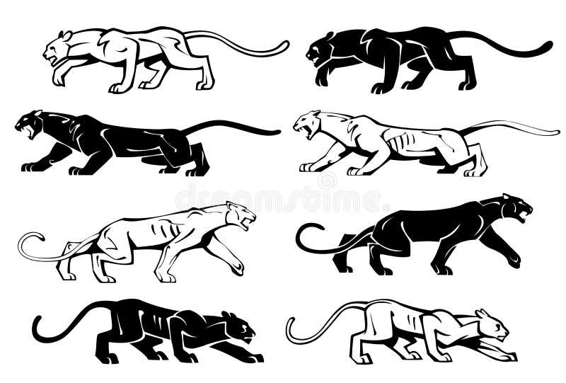 Illustrazione delle siluette di una pantera nel profilo Insieme di vettore royalty illustrazione gratis