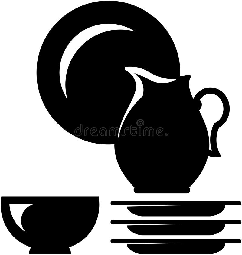 Illustrazione delle terrecotte di vettore - Dishware royalty illustrazione gratis