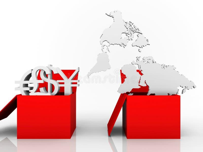 Illustrazione delle valute commerciali e del programma di mondo illustrazione di stock