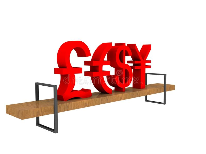 Illustrazione delle valute commerciali su un banco illustrazione vettoriale