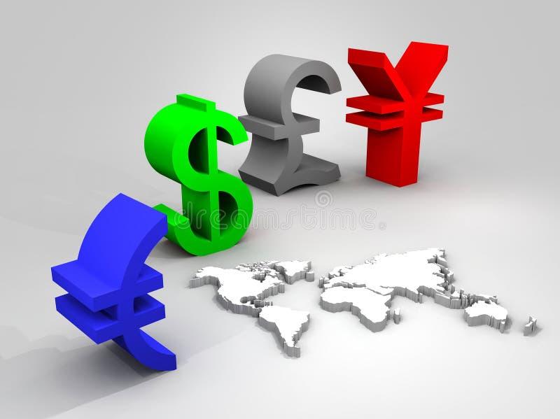 Illustrazione delle valute commerciali universalmente illustrazione di stock