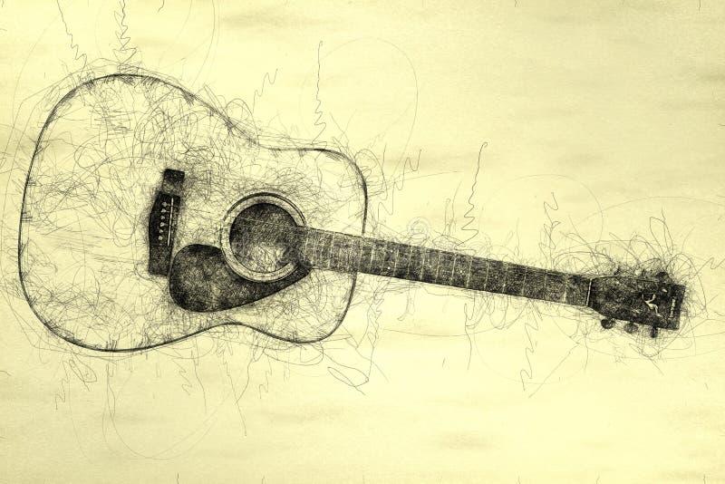 Illustrazione dello scarabocchio della chitarra acustica royalty illustrazione gratis