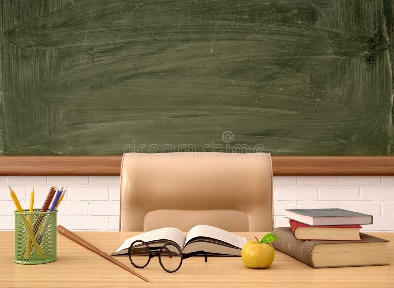 Illustrazione dello scrittorio dell'insegnante davanti ad un bordo verde illustrazione vettoriale