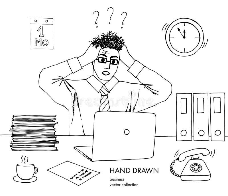 Illustrazione dello sforzo sul lavoro L'uomo d'affari tiene la sua testa che esamina il monitor supporto dei capelli sull'estremi illustrazione vettoriale