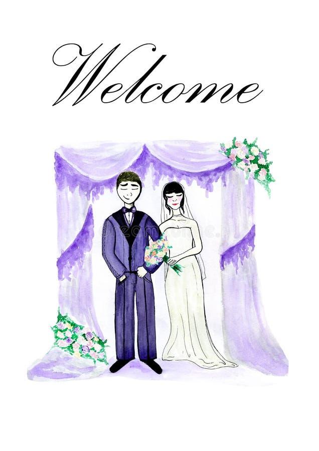 Illustrazione dello sposo con la sposa sul og del backgrond l'arco di nozze con i fiori Nozze nel colore del lavander illustrazione vettoriale