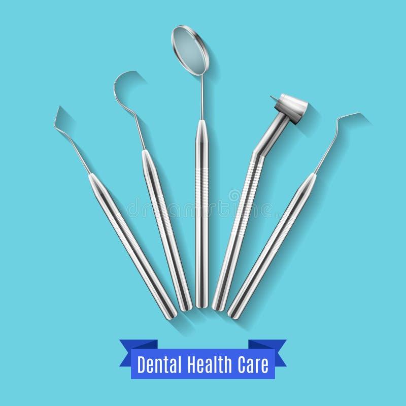 Illustrazione dentaria di vettore degli strumenti di sanità illustrazione vettoriale