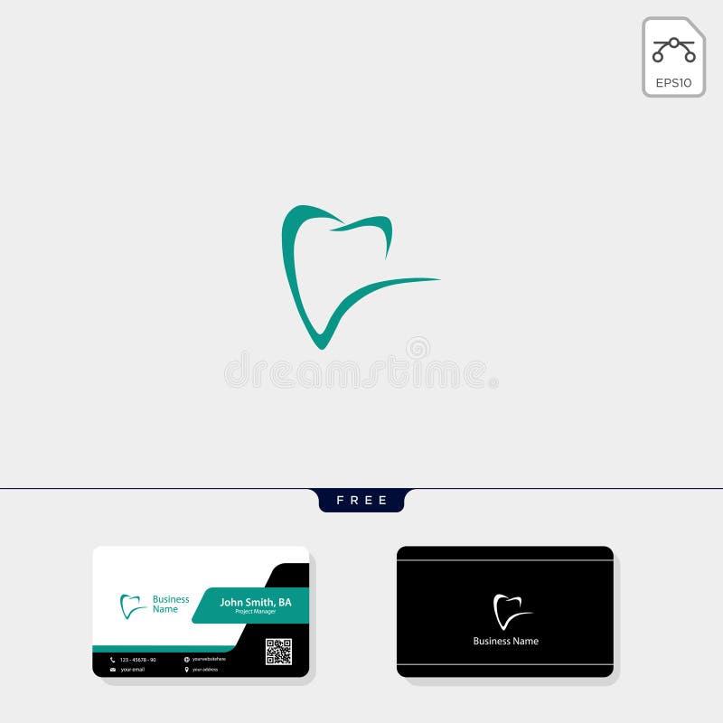 illustrazione dentaria di vettore del modello di logo dell'icona, progettazione di biglietto da visita libera illustrazione di stock
