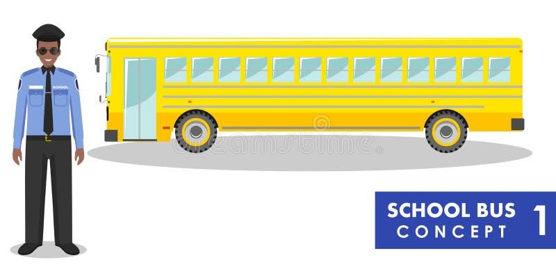 Illustrazione dettagliata del driver e dello scuolabus giallo nello stile piano su fondo bianco Concetto di formazione Vettore illustrazione di stock