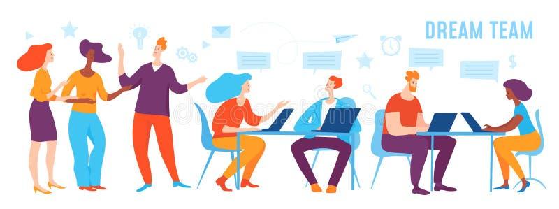 Illustrazione di affari di concetto di vettore della gente del gruppo di sogno illustrazione di stock