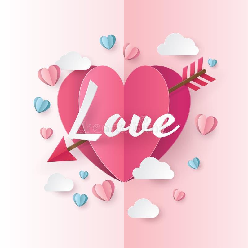 Illustrazione di amore e del giorno di S. Valentino con cuore e le nuvole illustrazione di stock