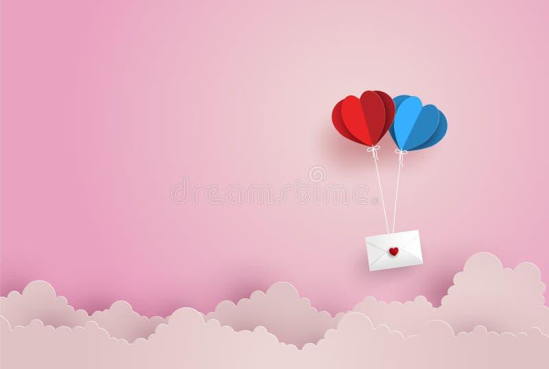 Illustrazione di amore e di Valentine Day, busta di carta gemellata di caduta di forma del cuore della mongolfiera che galleggia  illustrazione vettoriale