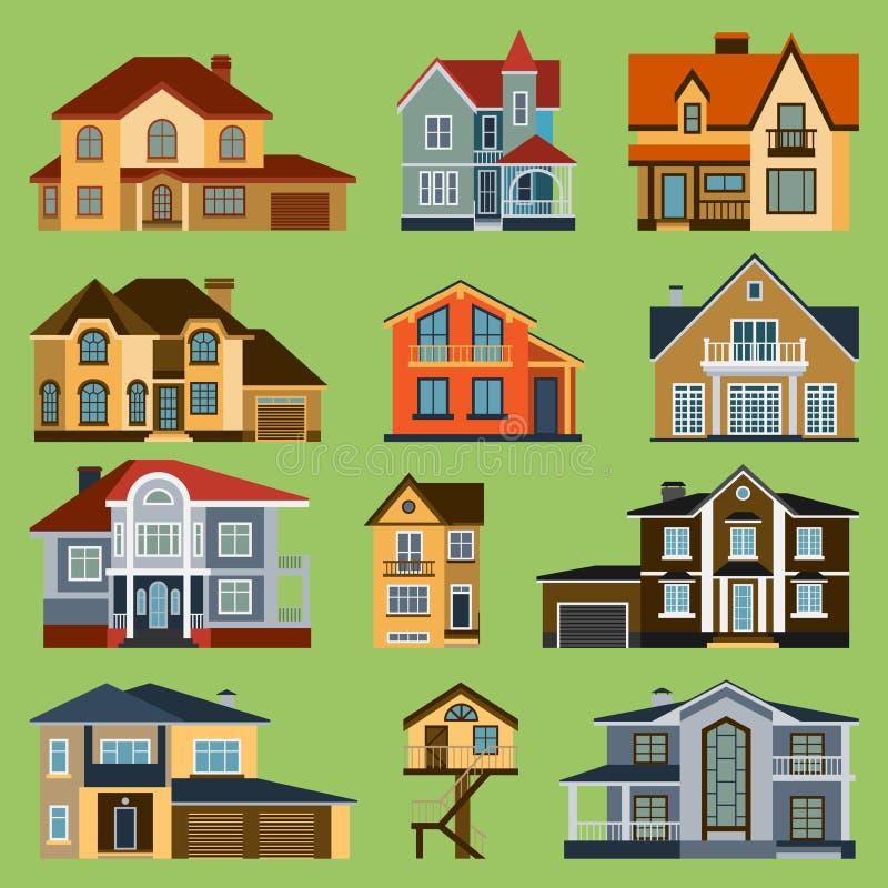 Illustrazione di architettura del fumetto della costruzione di casa del mondo moderno della città di vista della via del fronte d illustrazione vettoriale