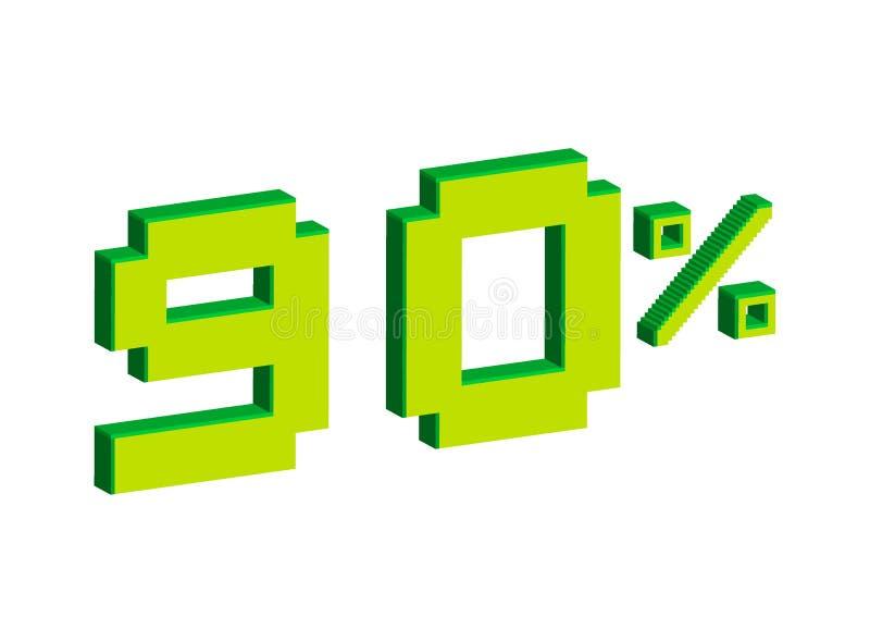 Illustrazione di arte del pixel Vendita 90 per cento fuori 3D con la vendita 90% delle foglie su fondo bianco Fondo di vendita un illustrazione di stock