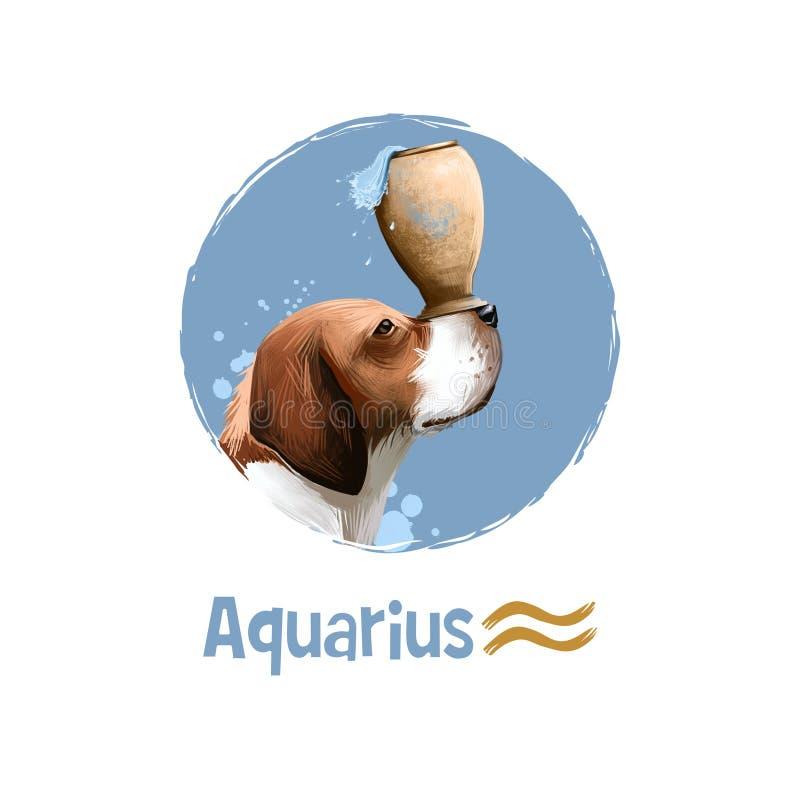 Illustrazione di arte di Digital dell'acquario astrologico del segno 2018 anni di cane Un undicesimo di dodici firma dentro lo zo illustrazione vettoriale