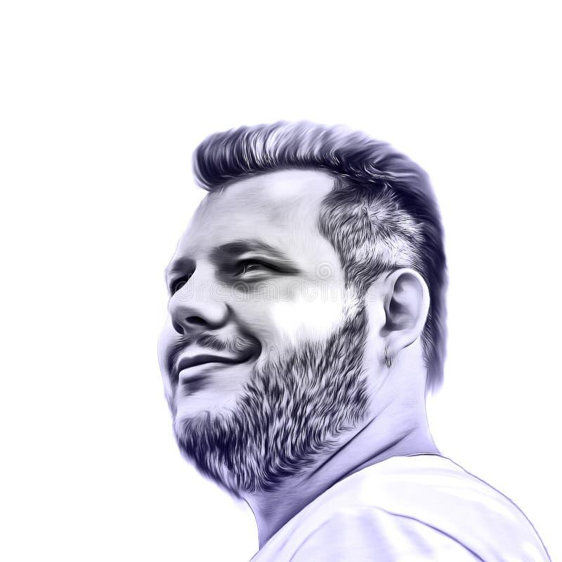 Illustrazione di arte di un tipo barbuto L'immagine creativa di un uomo che esamina la distanza Isolato su priorità bassa bianca  illustrazione vettoriale