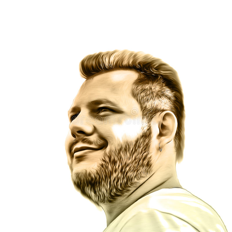 Illustrazione di arte di un tipo barbuto L'immagine creativa di un uomo che esamina la distanza Su fondo bianco Pittura ad olio illustrazione vettoriale