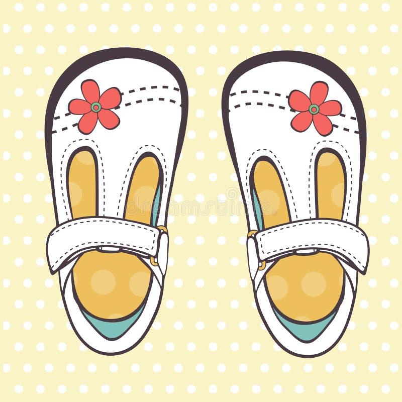 Illustrazione di belle scarpe della neonata illustrazione vettoriale