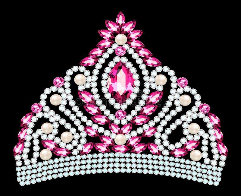 Illustrazione di bello diadema, corona, femmina del diadema con la perla illustrazione vettoriale