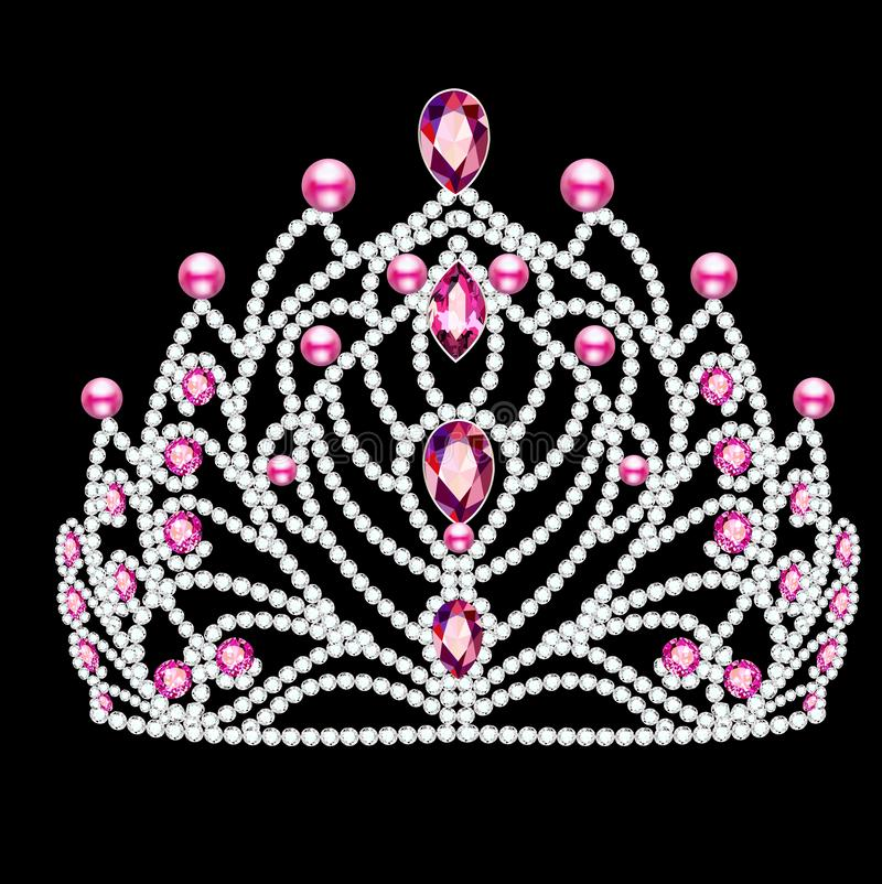 Illustrazione di bello diadema, corona, femmina del diadema con la perla illustrazione di stock