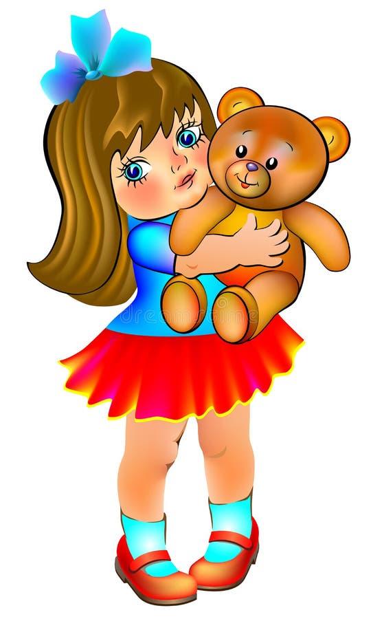 Illustrazione di bello orsacchiotto della tenuta della bambina royalty illustrazione gratis