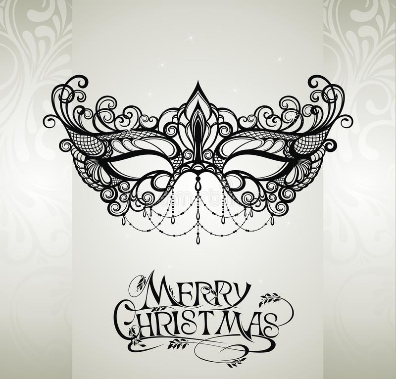 Illustrazione di Buon Natale con il fondo onfloral della maschera del pizzo royalty illustrazione gratis