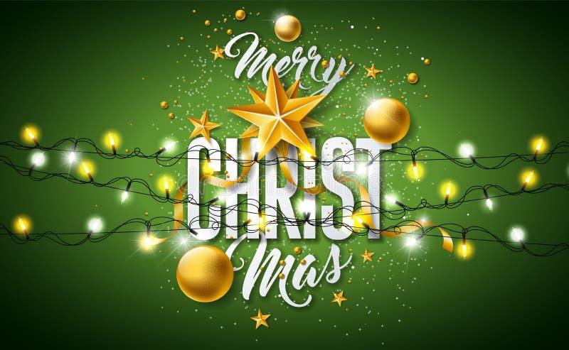 Illustrazione di Buon Natale con la palla di vetro dell'oro, stella, accendendo ghirlanda e gli elementi di tipografia su fondo v illustrazione di stock