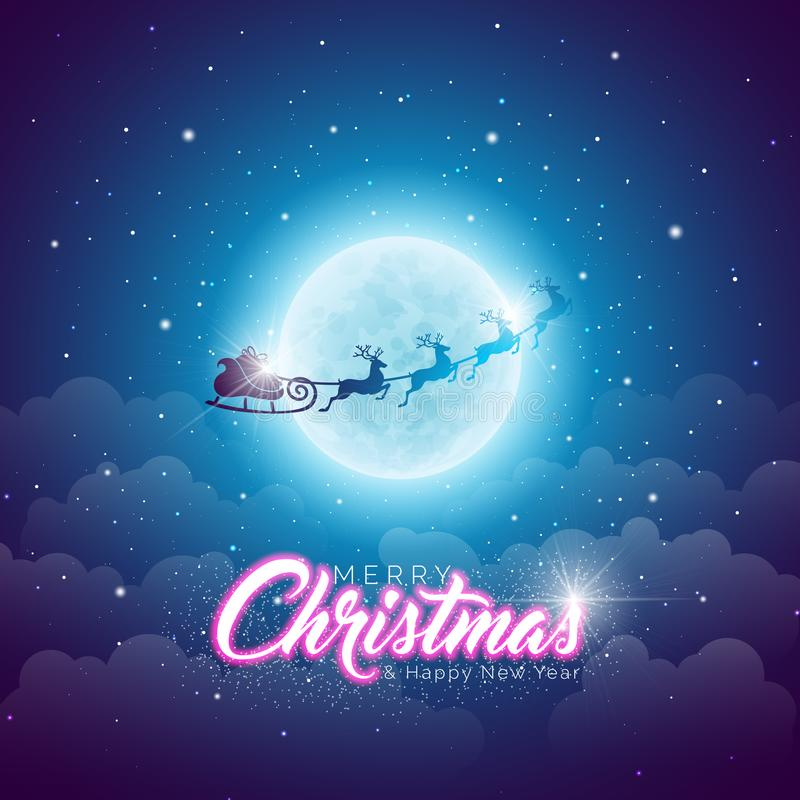 Illustrazione di Buon Natale con pilotare Santa nella luna sul fondo blu del cielo notturno Progettazione di vettore per la carto illustrazione vettoriale