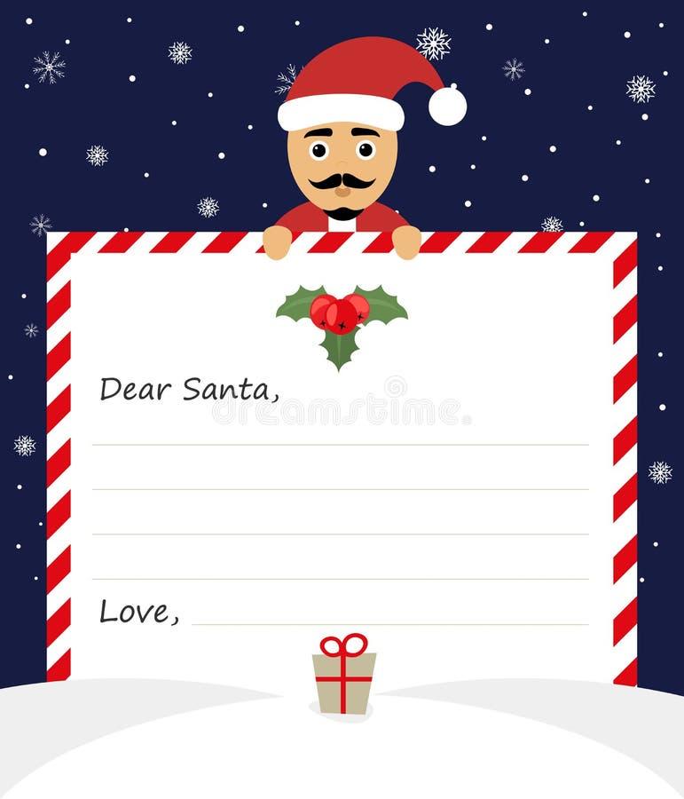 Illustrazione di Buon Natale della lettera su fondo blu Il caro Babbo Natale illustrazione vettoriale