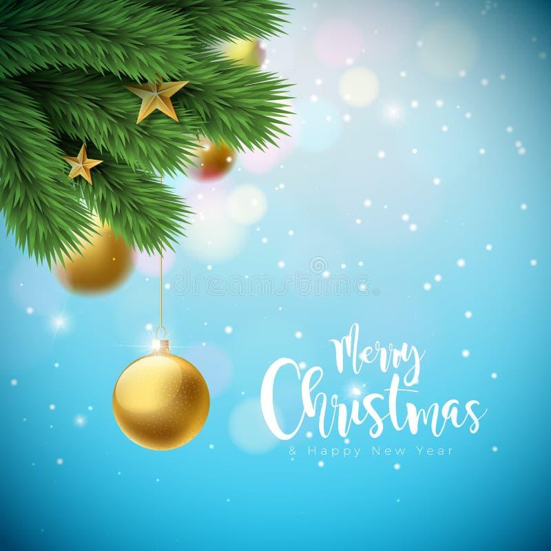 Illustrazione di Buon Natale di vettore con le palle ornamentali e ramo del pino su fondo blu brillante Nuovo anno felice illustrazione di stock