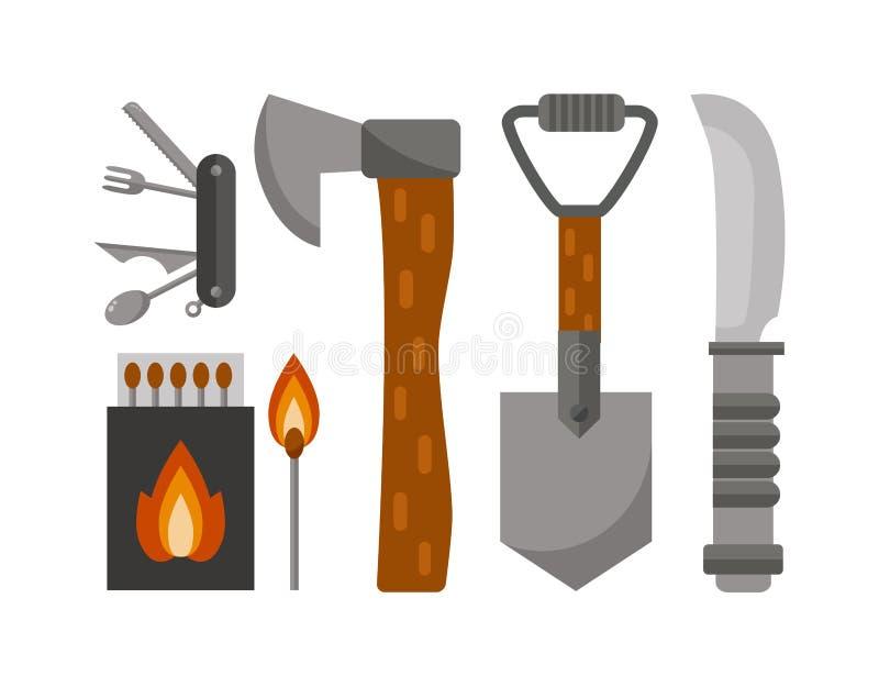 Illustrazione di campeggio di vettore degli strumenti illustrazione di stock