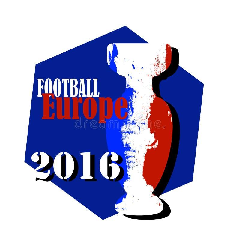 Illustrazione di campionato di Europa di calcio con la bandiera della Francia illustrazione vettoriale