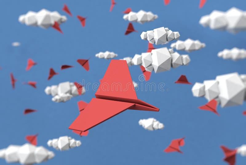 Illustrazione di carta del fondo degli aerei della carta e delle nuvole immagine stock libera da diritti