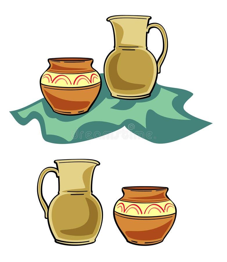 Illustrazione di ceramica delle terrecotte. JPG ed ENV illustrazione vettoriale