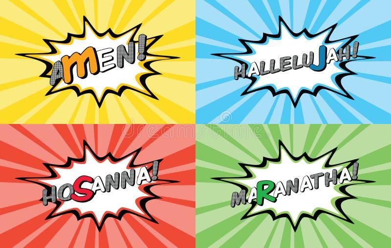 Illustrazione di Christian Shout Comic Cartoon Style illustrazione vettoriale