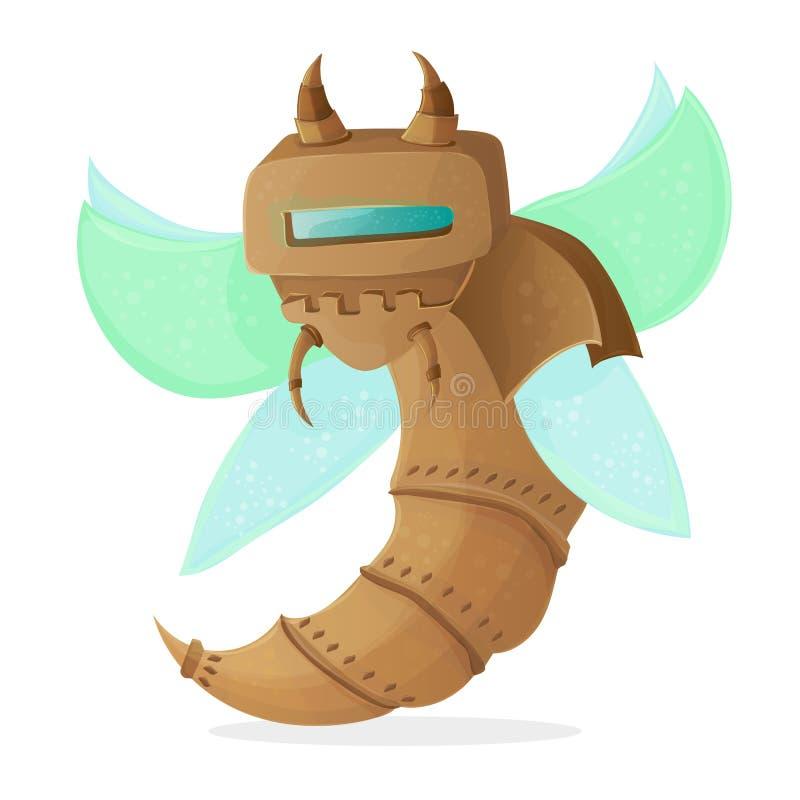 Illustrazione di clipart del fumetto di una vespa del robot o di un'ape - stile di Steampunk royalty illustrazione gratis