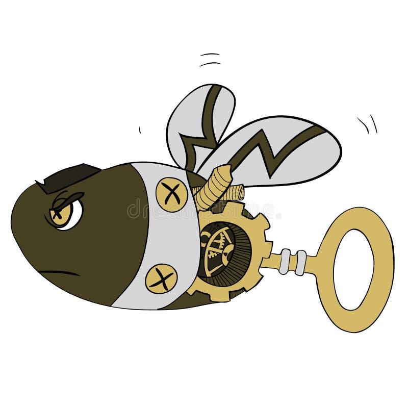 Illustrazione di clipart del fumetto di una vespa del robot o di un'ape - stile di Steampunk dorato illustrazione vettoriale