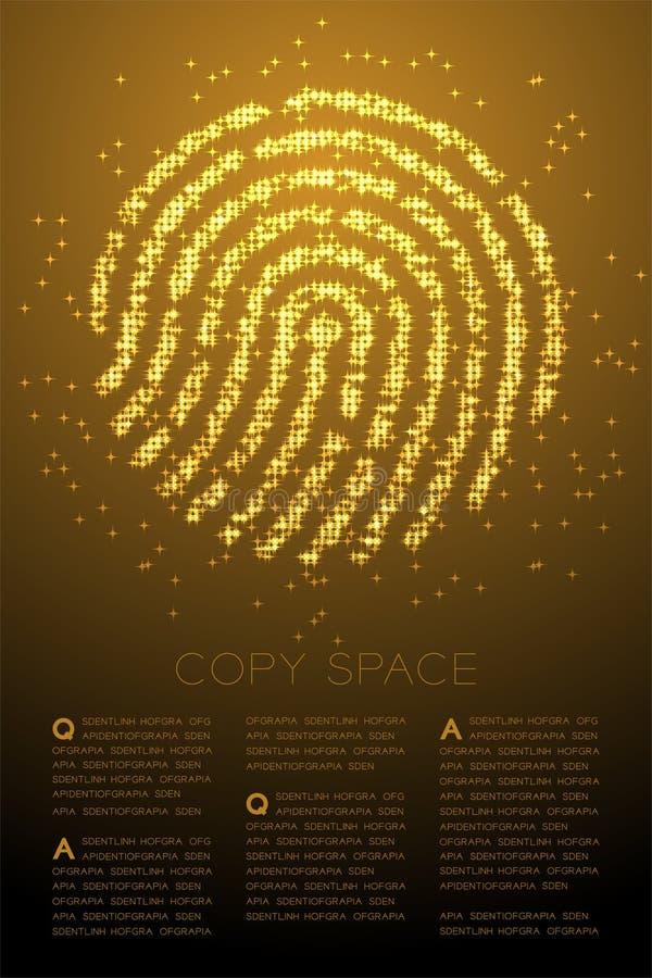 Illustrazione di colore brillante dell'oro del motivo a stelle di Bokeh della particella di forma dell'impronta digitale sul fond illustrazione vettoriale