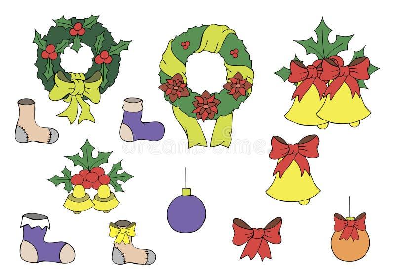 Illustrazione di colore dei giocattoli del nuovo anno illustrazione di stock