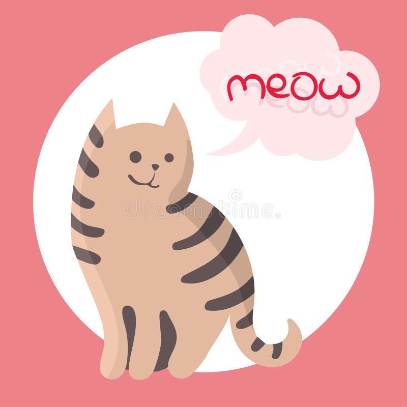 Download Illustrazione Di Colore Di Vettore Dello Schizzo Disegnato A Mano Del  Gatto Con Il Miagolio